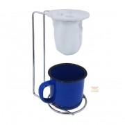 Mini coador de café com caneca azul