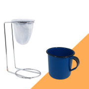 Kit Mini Coador de Café Com Caneca Azul