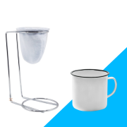 Kit Mini Coador de Café Com Caneca Branca lisa 150 ml