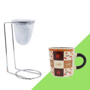 Kit Mini Coador de Café Com Caneca Cerâmica Branca 180 ml