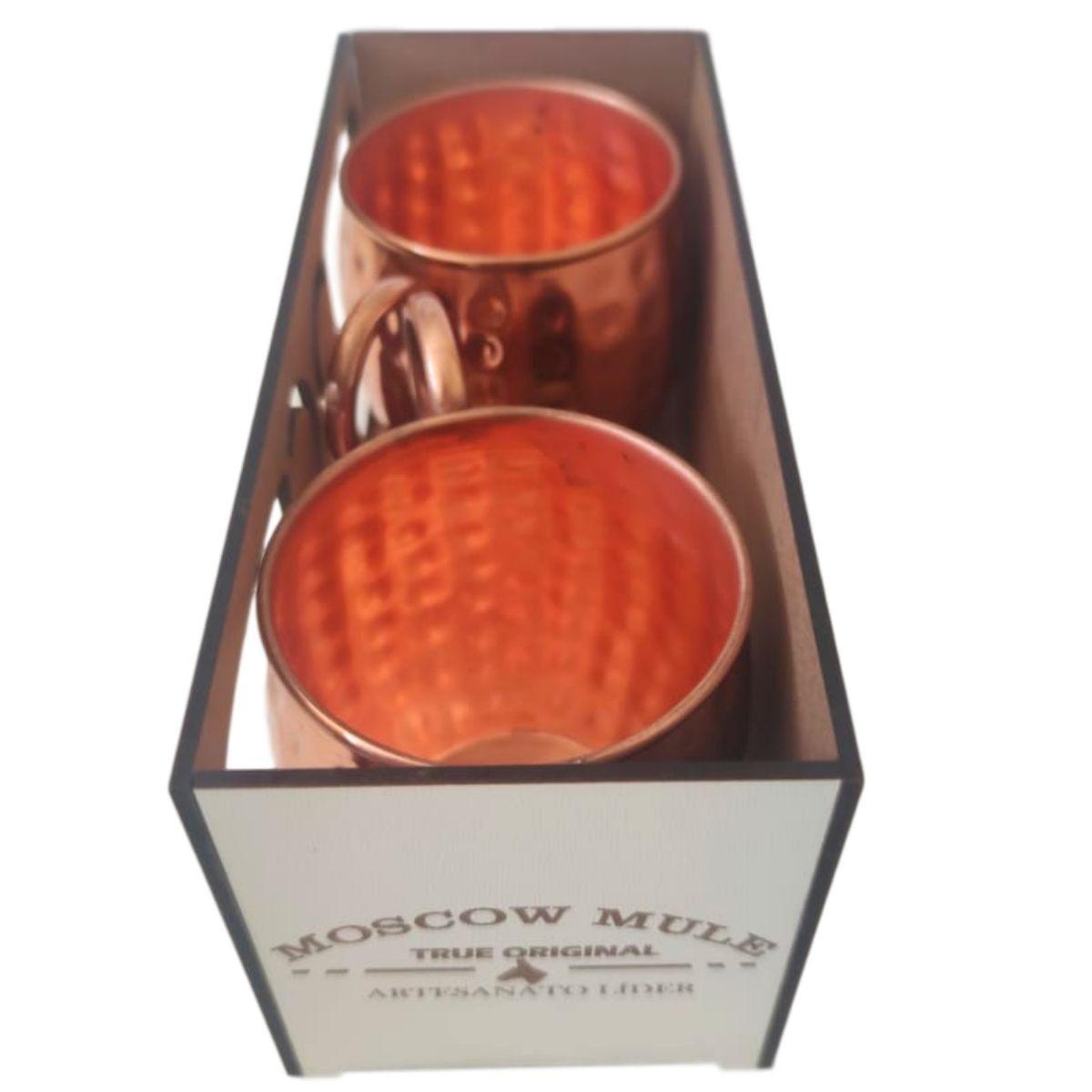 2 Canecas Moscow Mule Barril em Cobre 400 ml c/ Caixa para Presente