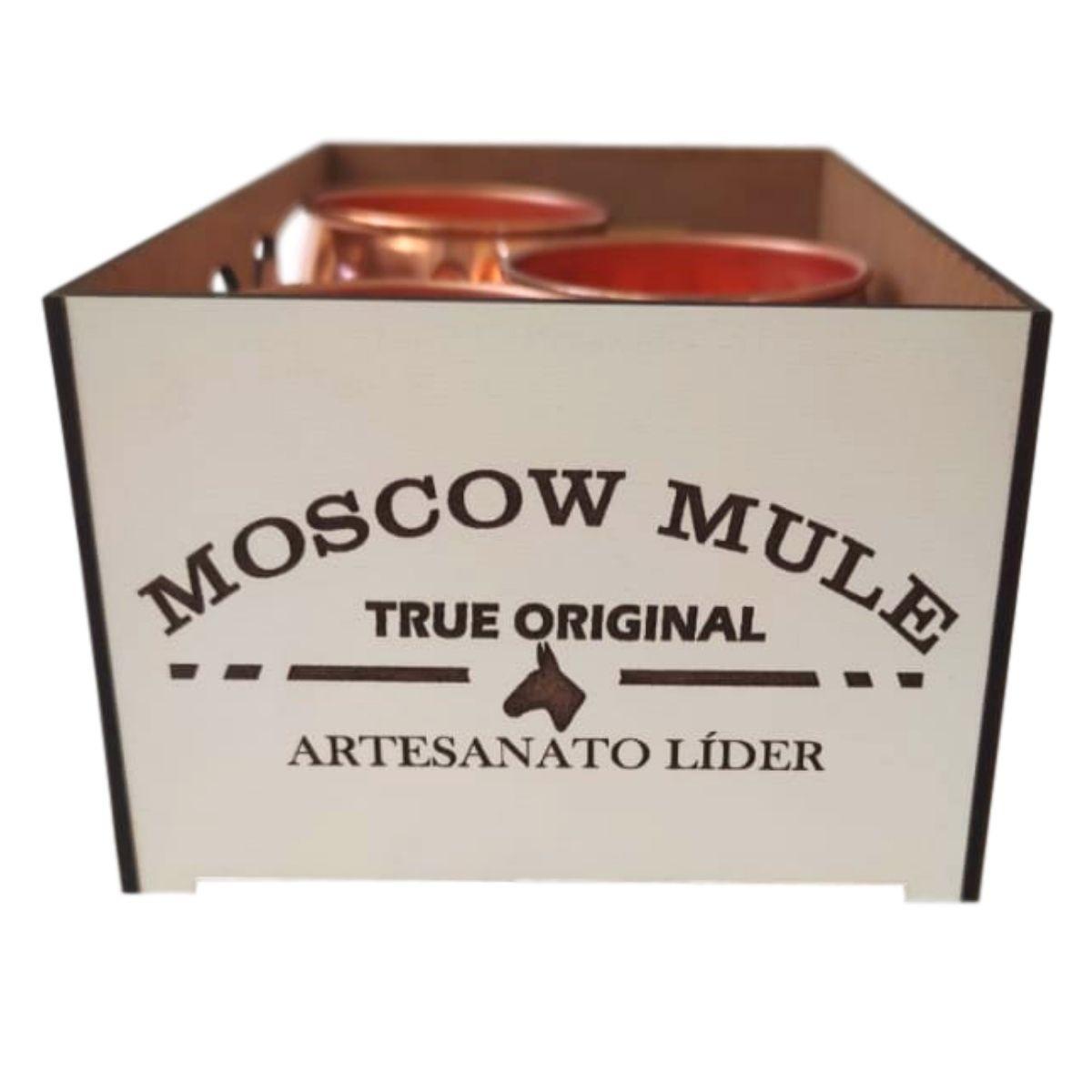 3 Canecas Moscow Mule Barril em Cobre 400 ml c/ Caixa para Presente