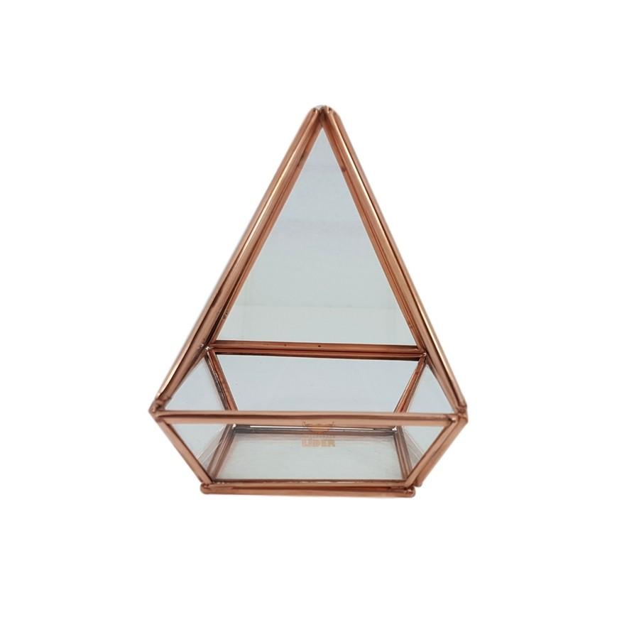 Terrário Pirâmide em Cobre Base Quadrada M