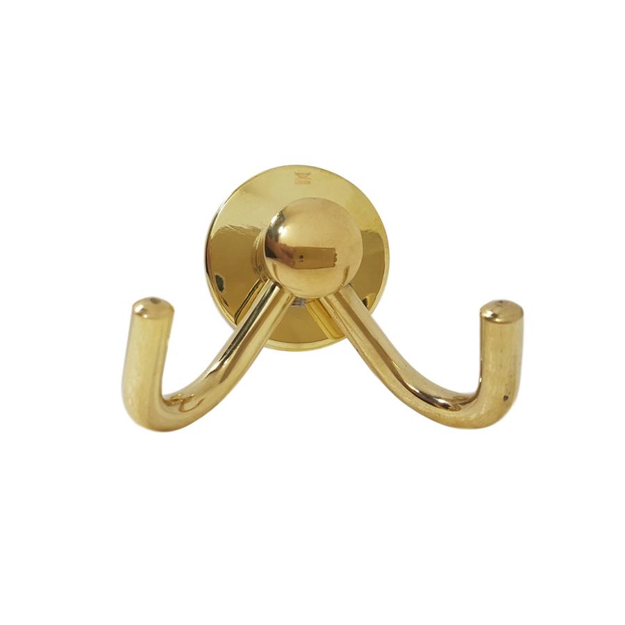 Cabide Duplo Luxo Dourado Para Banheiro