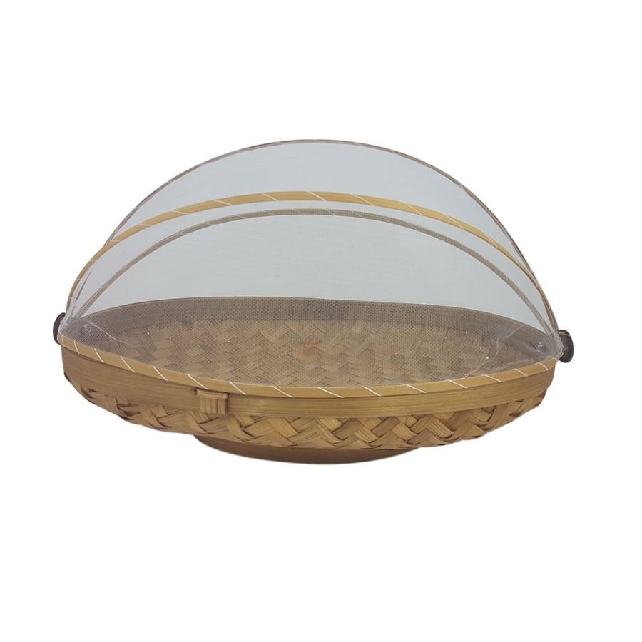 Cesta Oval de Bambu para alimentos com cobertura em tela G