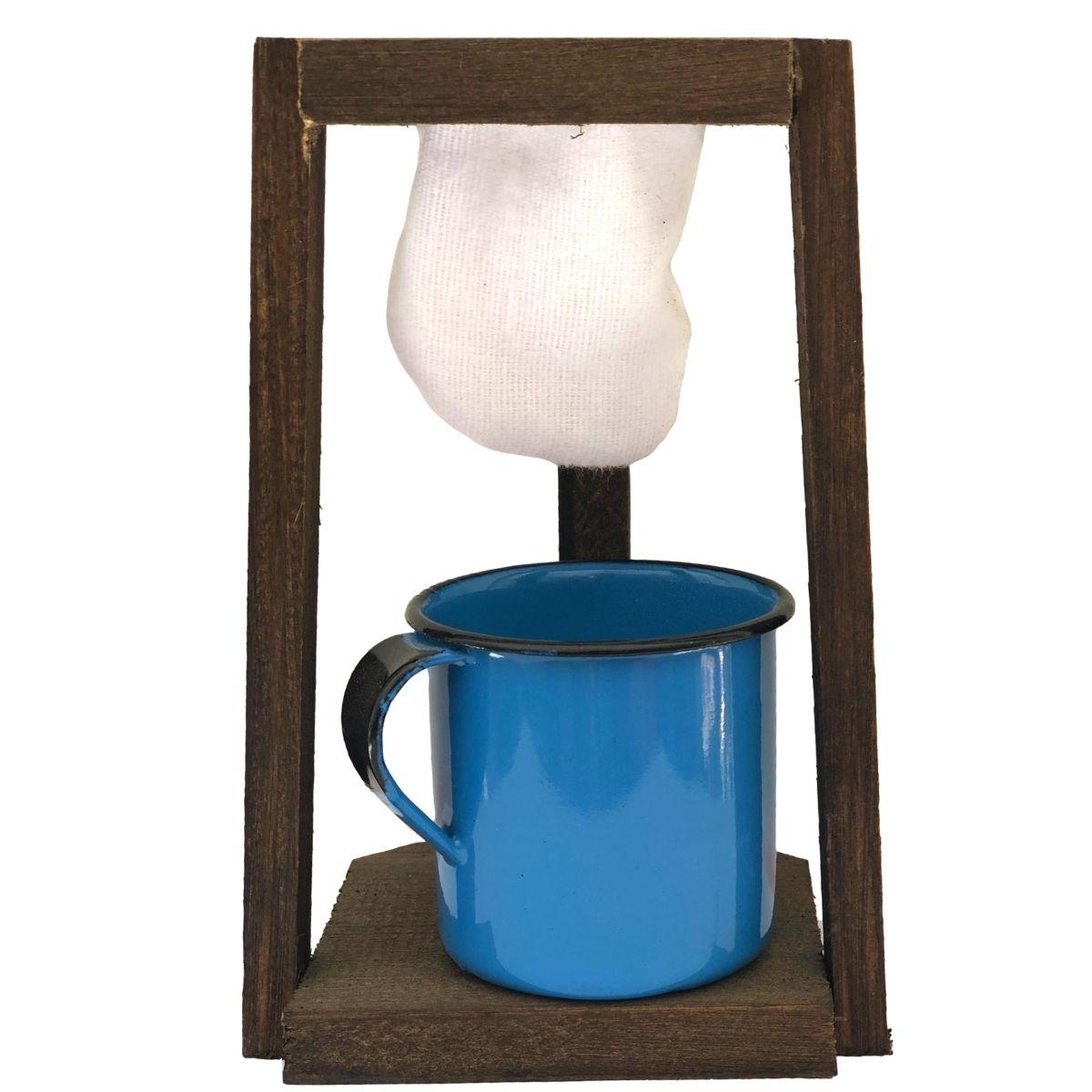 Coador de Café Madeira C/ Caneca Azul180 ml