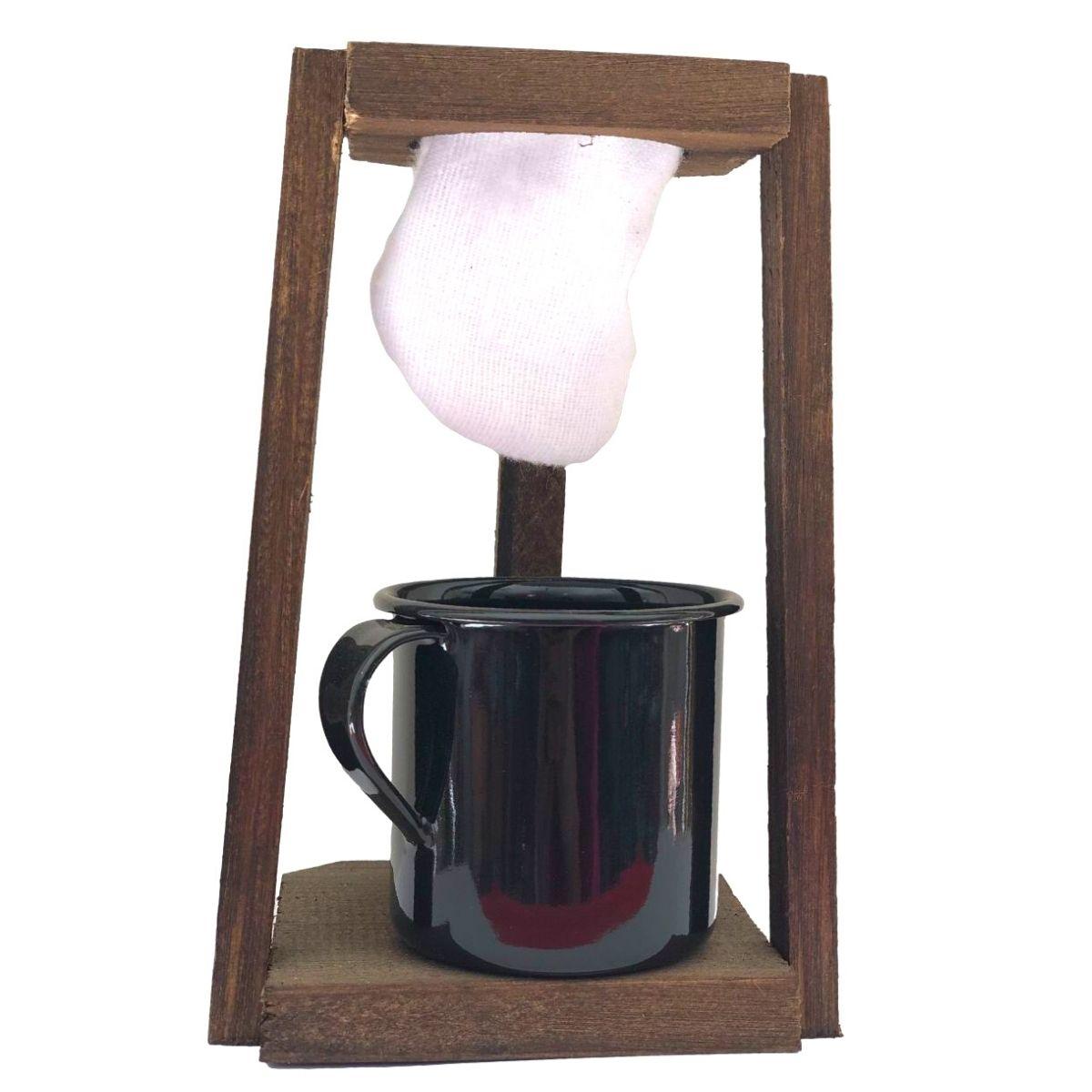 Coador de Café Madeira C/ Caneca Preta180 ml
