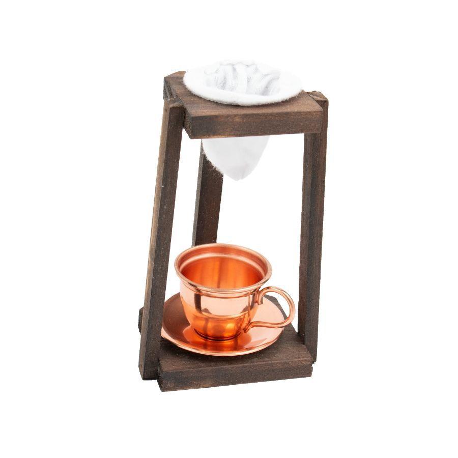 Coador de Madeira P com caneca e pires de cobre