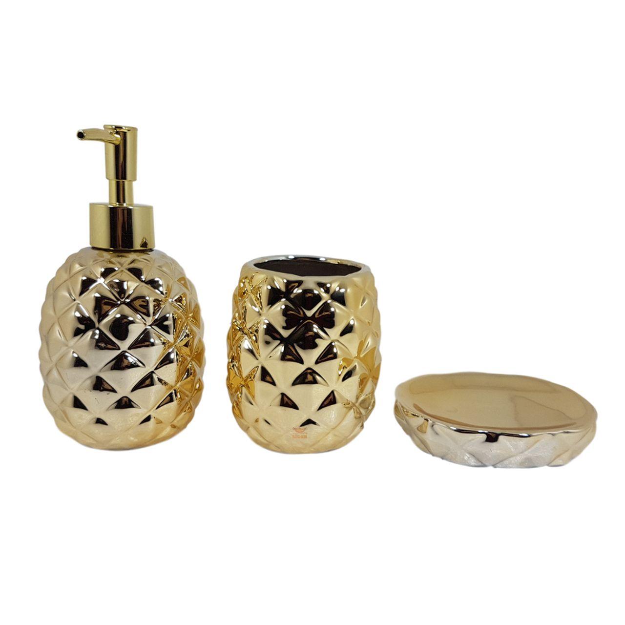 Conjunto de Banheiro Abacaxi Dourado