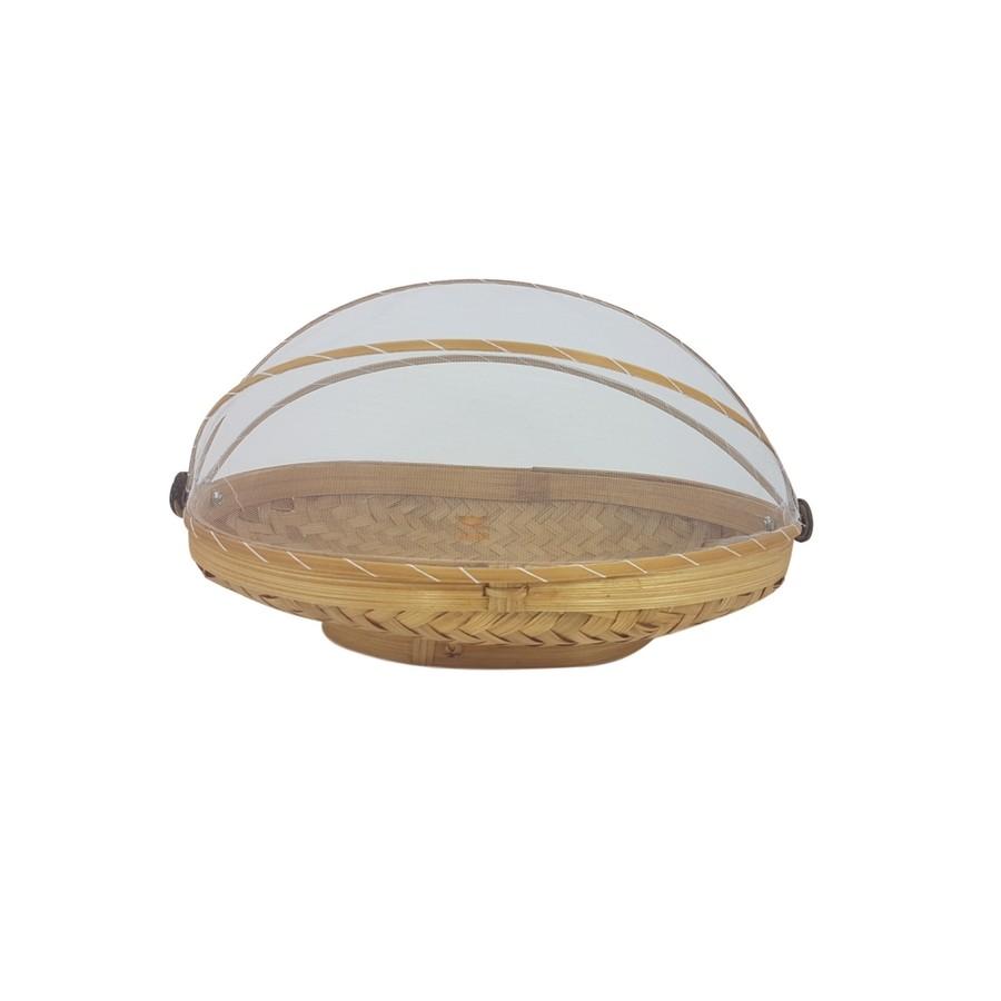 Cesta Oval de Bambu para alimentos com cobertura em tela P