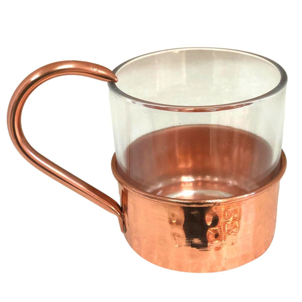 Copo Whisky de Vidro com Suporte de Cobre