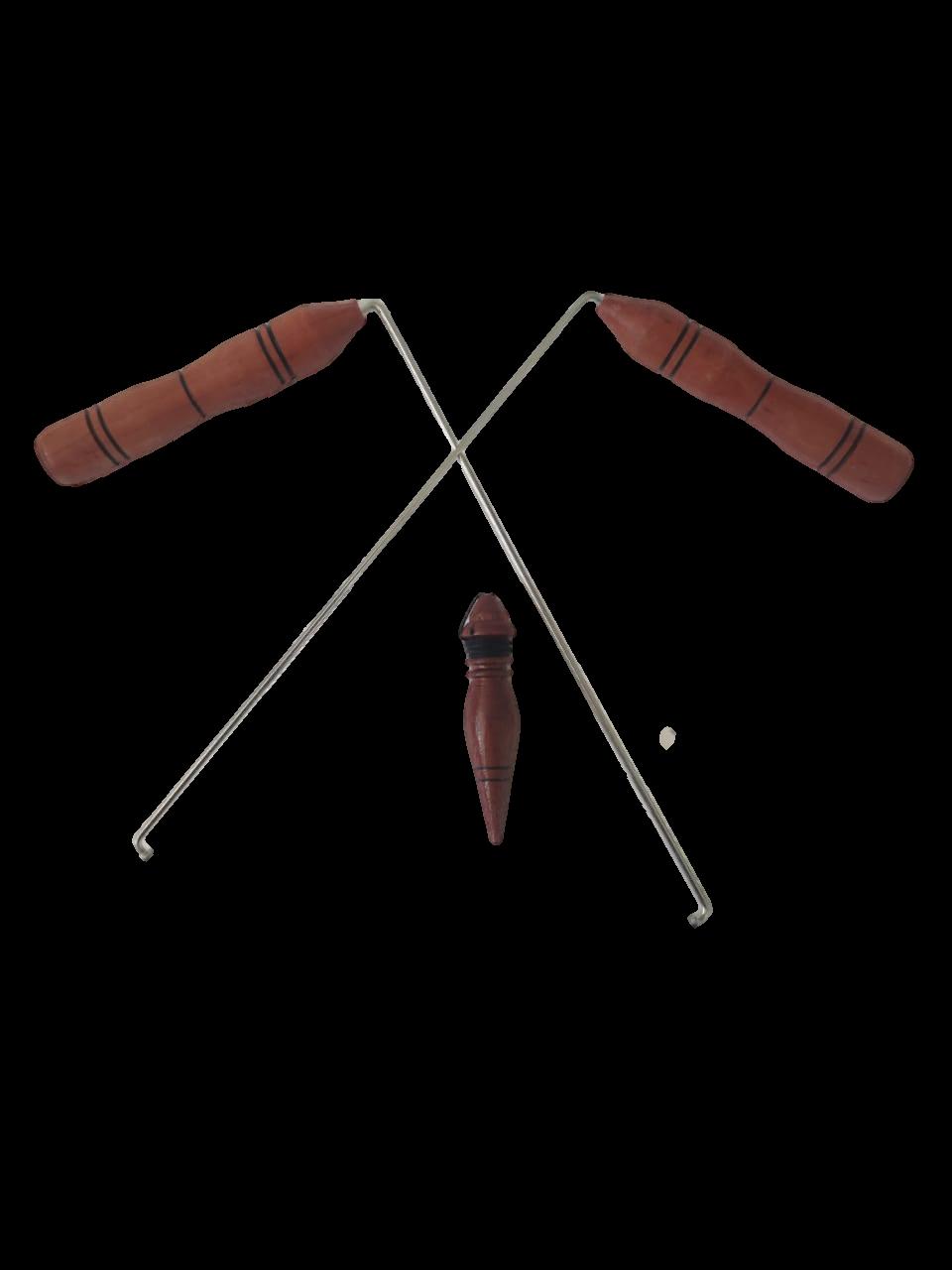 Dual Rod + Pêndulo Modelo P-01 Em Madeira Para Radiestesia