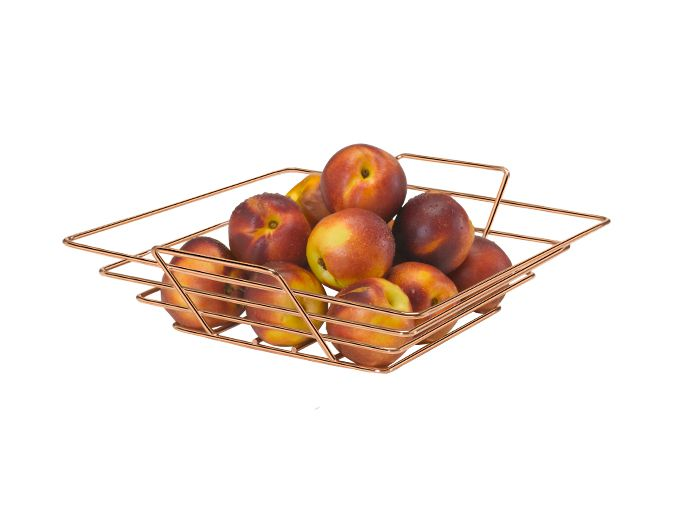 Fruteira de mesa quadrada art cook rose gold