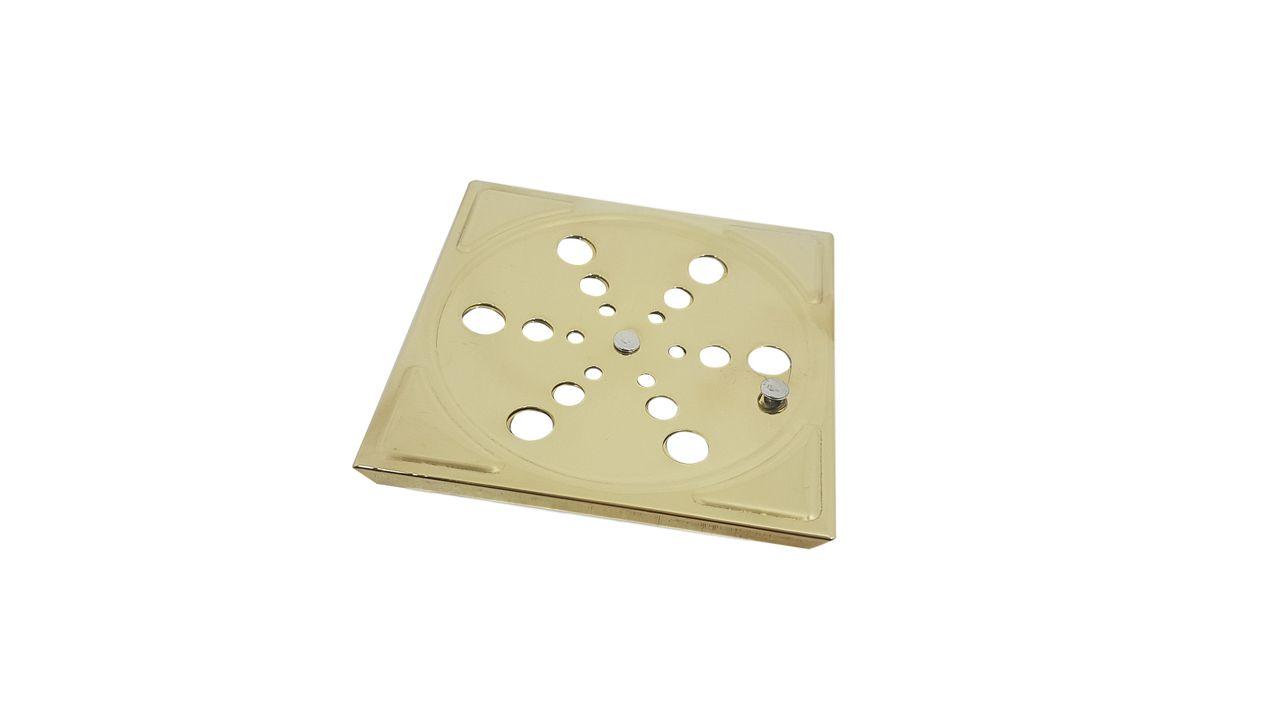 Grelha Para Ralo Manual Dourada 10 x 10
