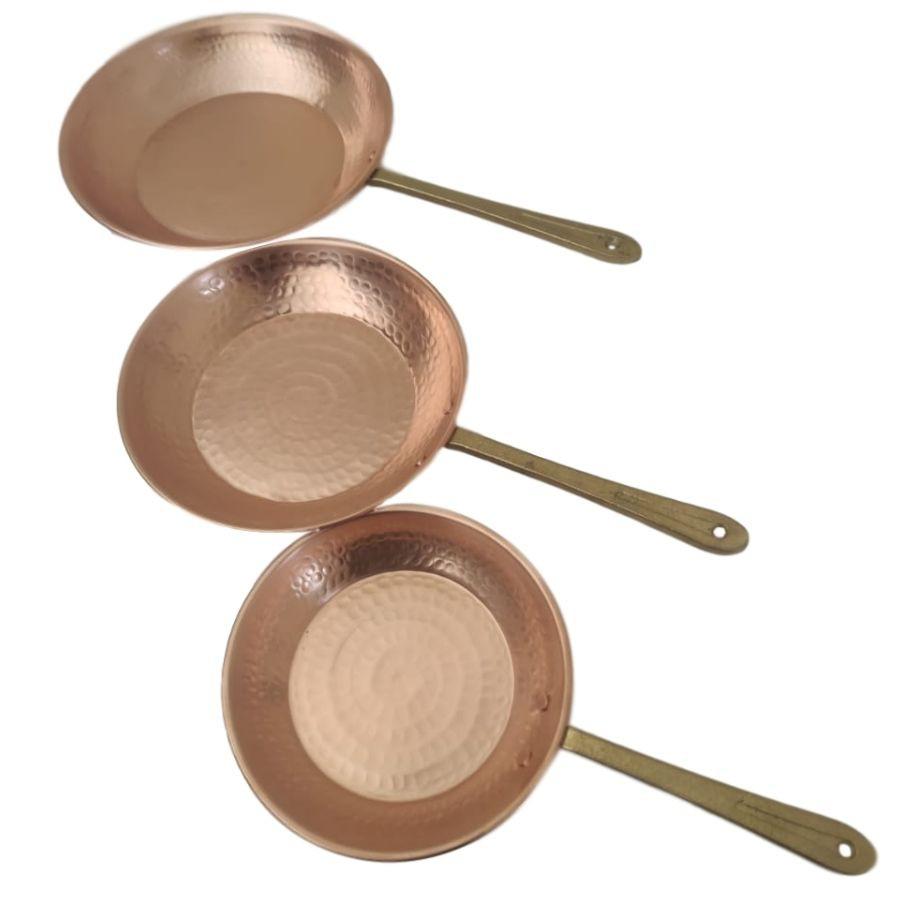 Kit de frigideiras em cobre P M G com cabo em liga de bronze
