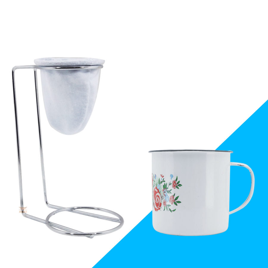 Kit Mini Coador de Café Com Caneca Branca Estampada 150 ml