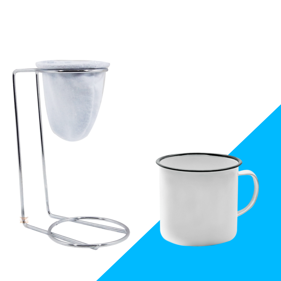 Kit Mini Coador de Café Com Caneca Branca lisa 150 ml