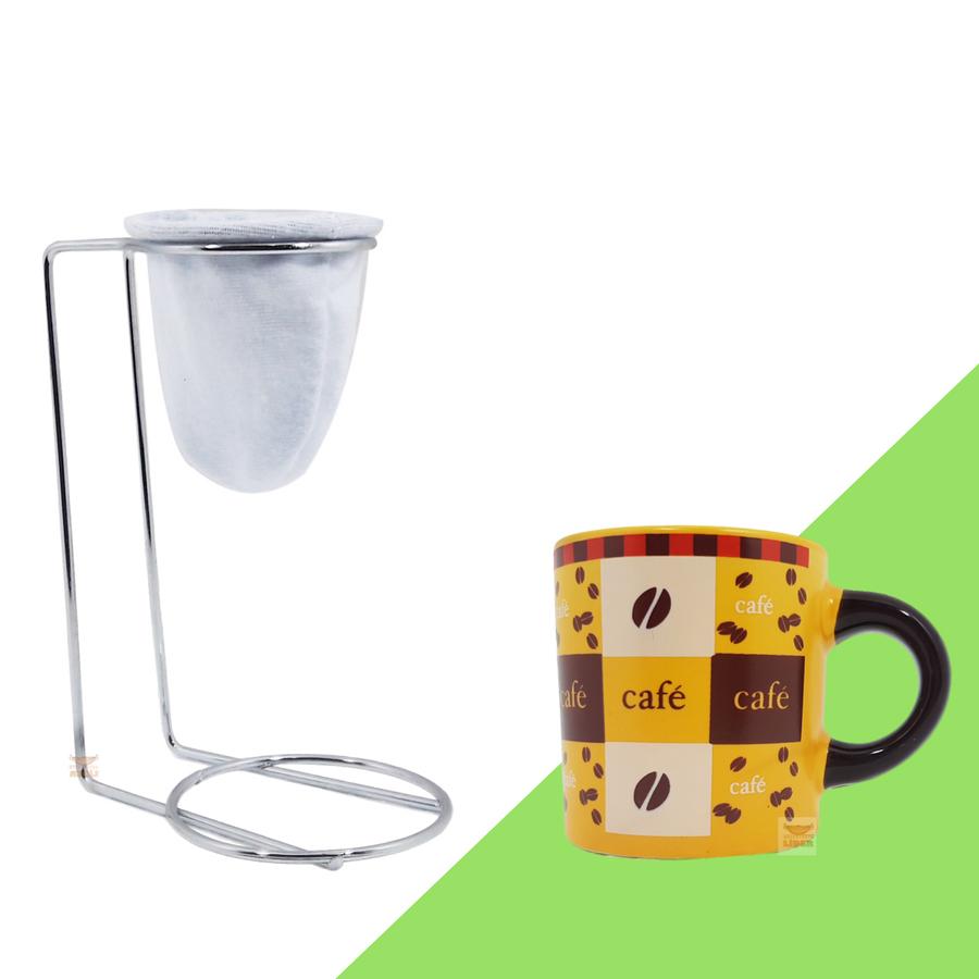 Kit Mini Coador de Café Com Caneca Cerâmica Amarela 180 ml