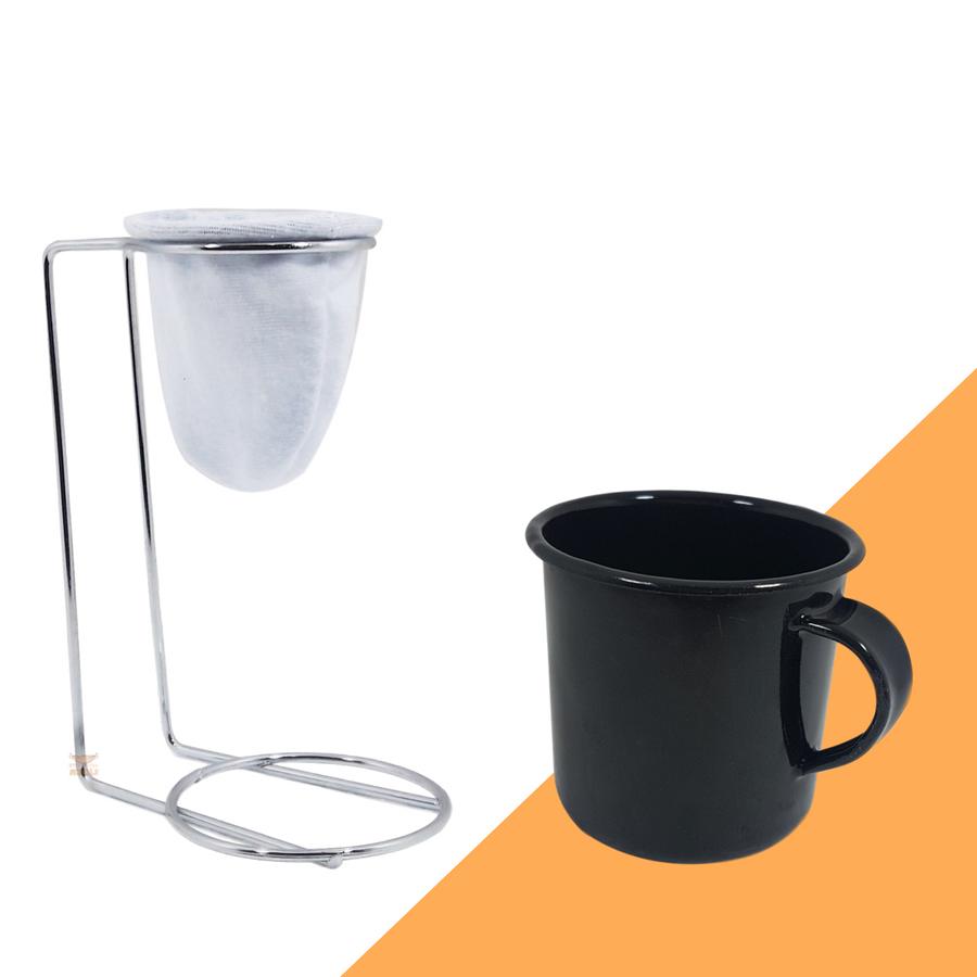 Kit Mini Coador de Café Com Caneca Preta