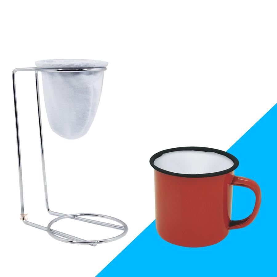 Kit Mini Coador de Café Com Caneca Vermelha e Branca 150 ml