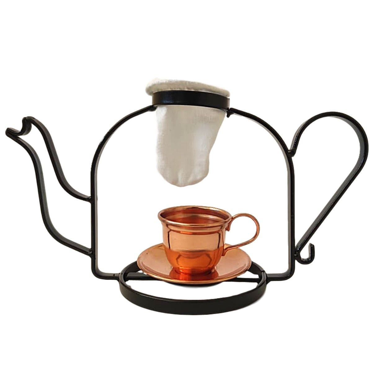 Mini Coador de Café Chaleira com Caneca peires de cobre + Refil de Pano