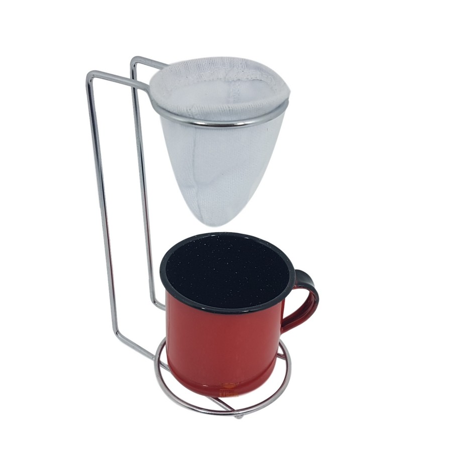 Mini coador de café com caneca vermelha