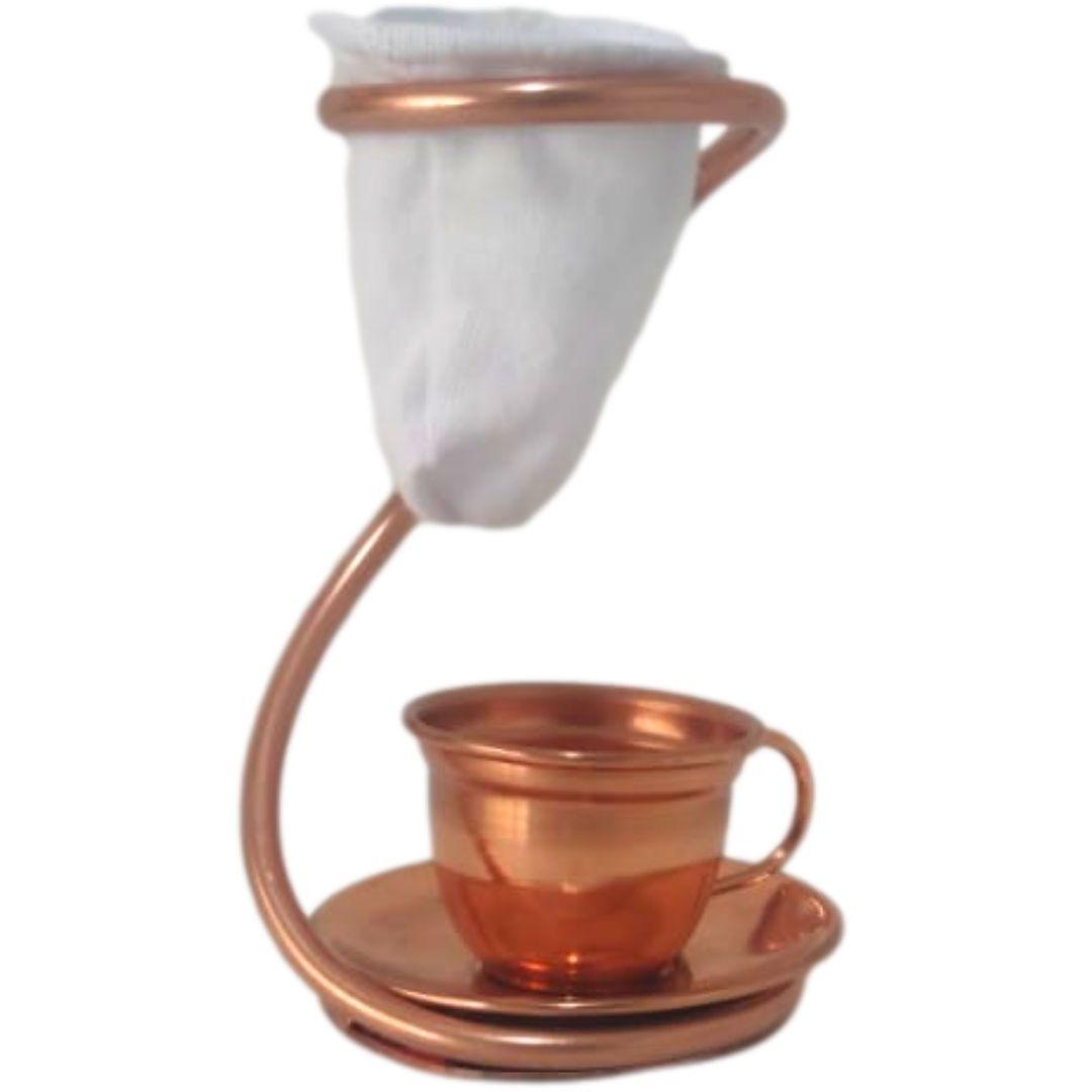 Mini Coador de Café Tubo em Cobre com Xicara e Pires de Cobre