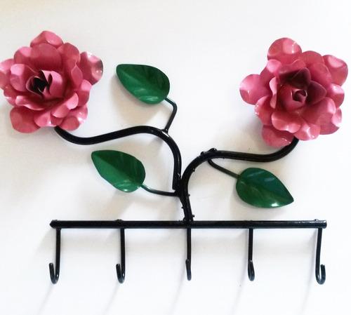 Porta-chave Com Flores Rosa / Frete Grátis + Brindes
