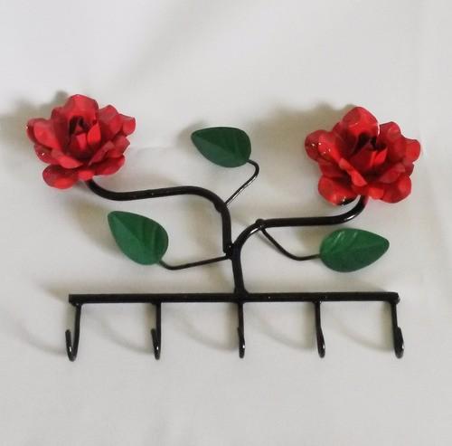 Porta-chaves Com 2 Flores Vermelha / Frete Grátis + Brindes!