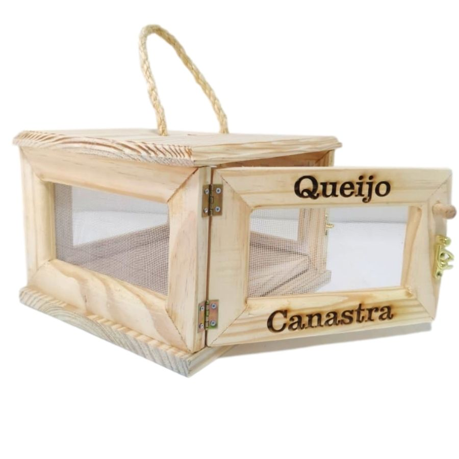 Queijeira de Madeira com Porta para Um Queijo