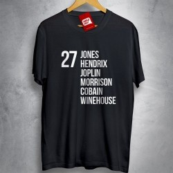 OFERTA - THE 27 CLUB - Jones, Hendrix,... - CAMISETA PRETA - Tamanho M