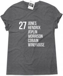 Camiseta e bolsa THE 27 CLUB - Jones, Hendrix, Joplin, Morrison, Cobain & Winehouse