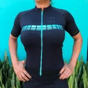 Camisa Ciclismo Racing Black / Jade - Feminina