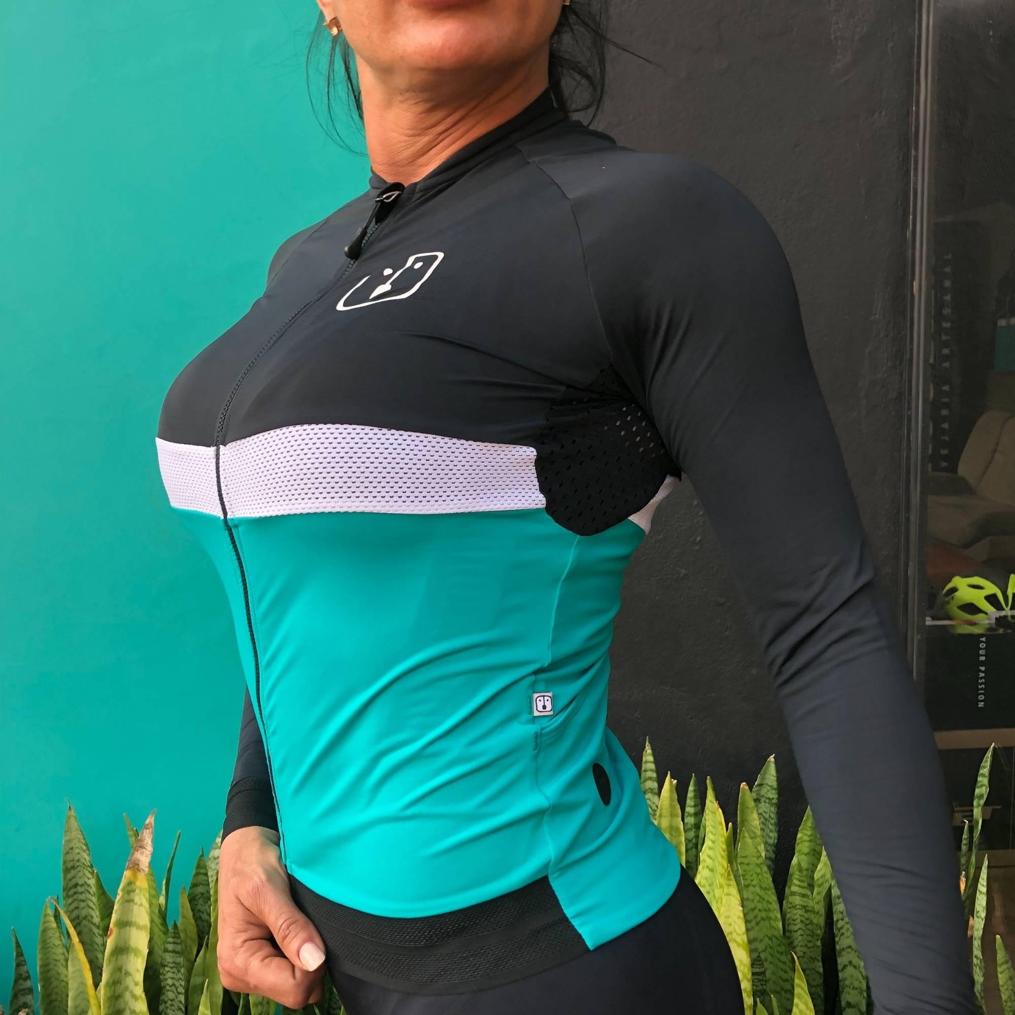 Camisa Ciclismo Aussie Jade / Dark - Feminina