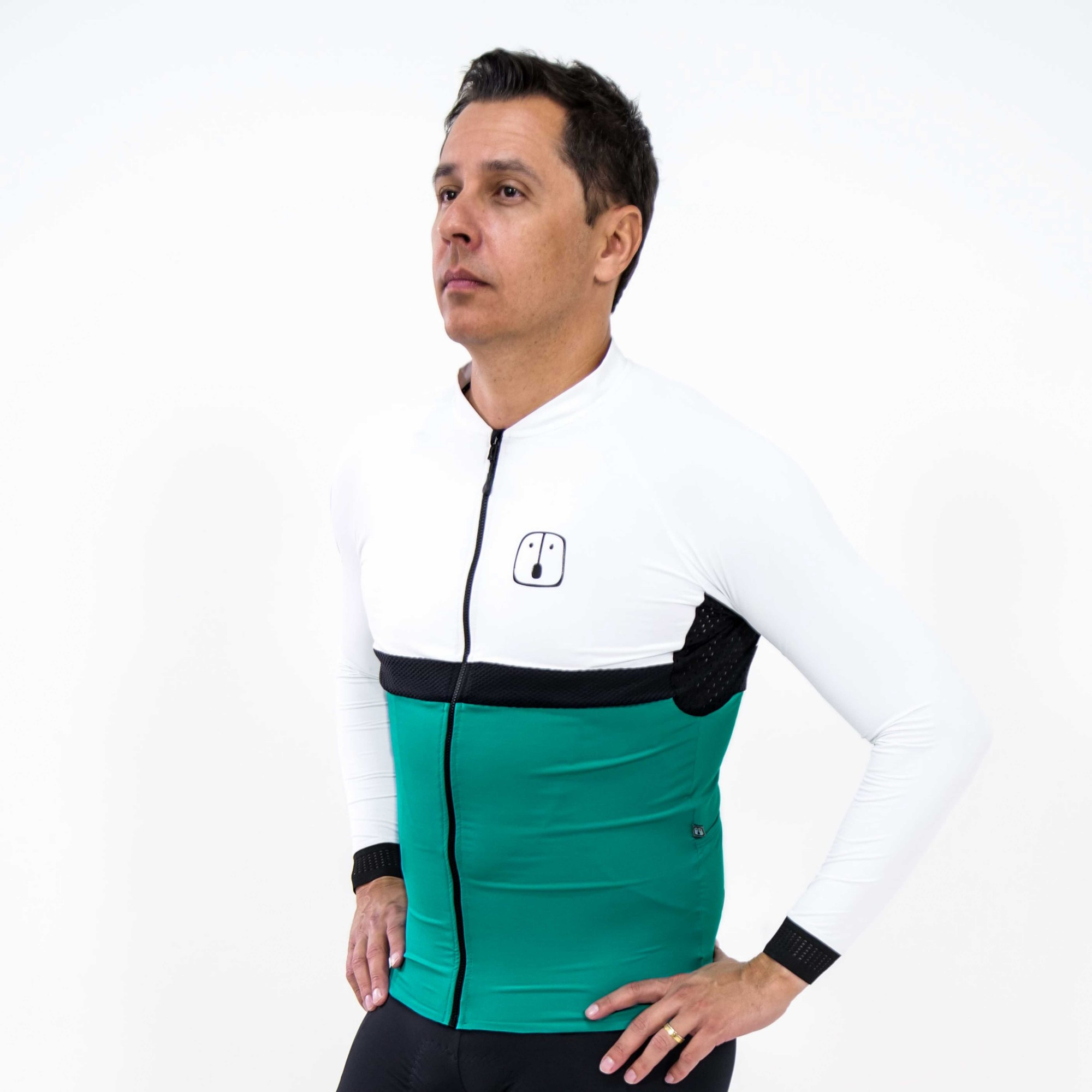 Camisa Ciclismo Aussie Jade / White - Masculina