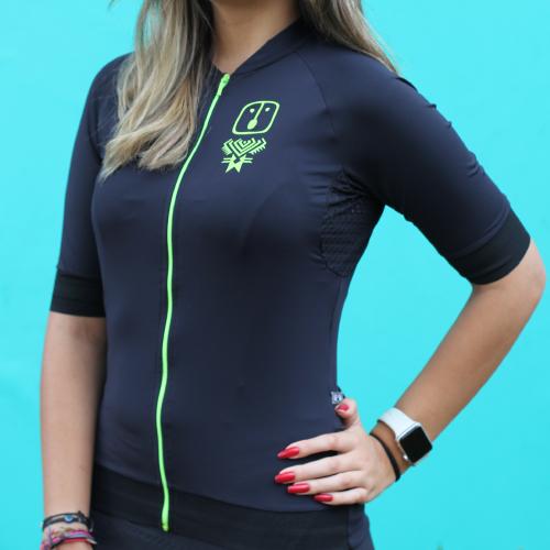 Camisa Ciclismo Racing EVO Black / Neon - Feminina