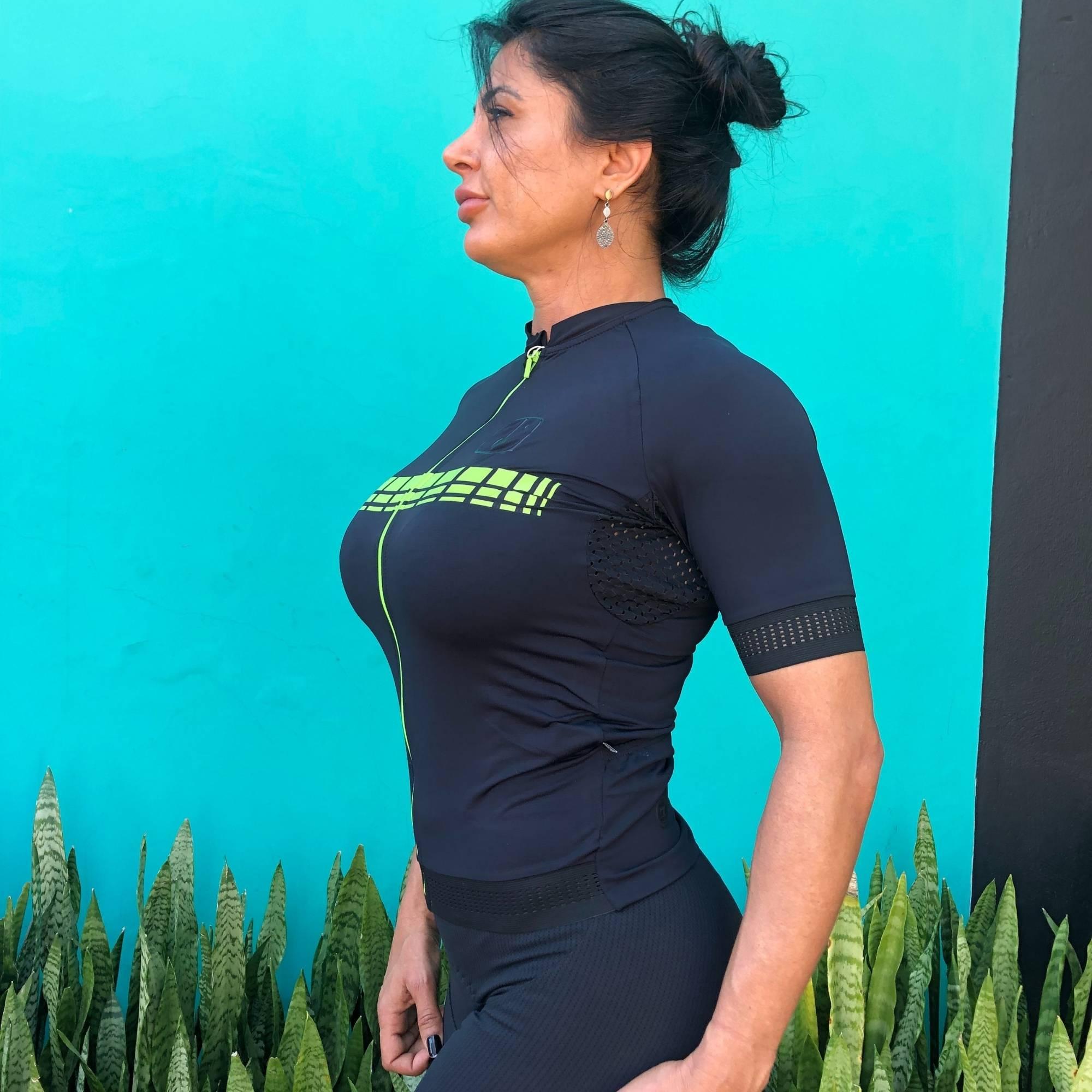 Camisa Ciclismo Racing Black / Neon - Feminina