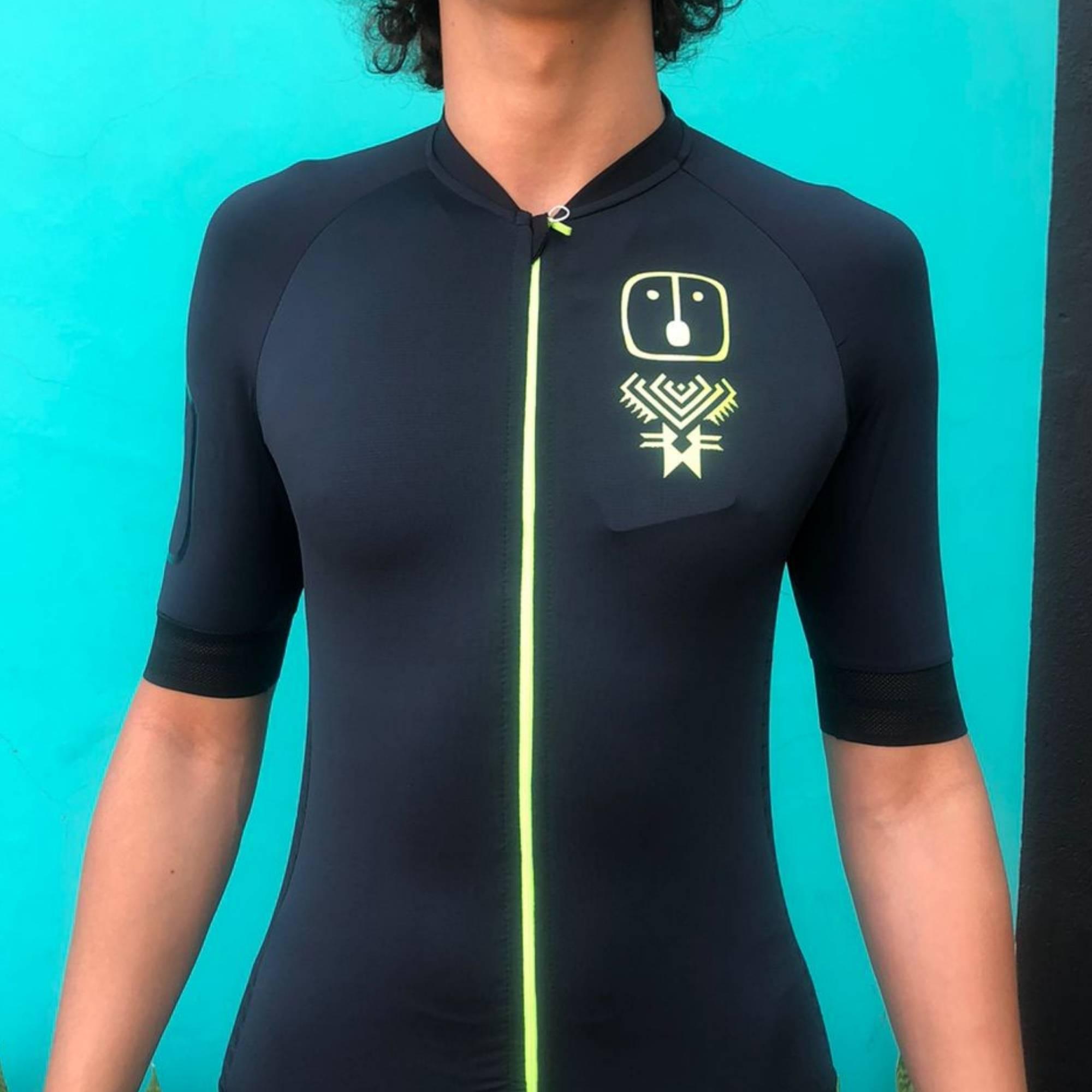 Camisa Ciclismo Racing Evo Black / Neon - Masculina