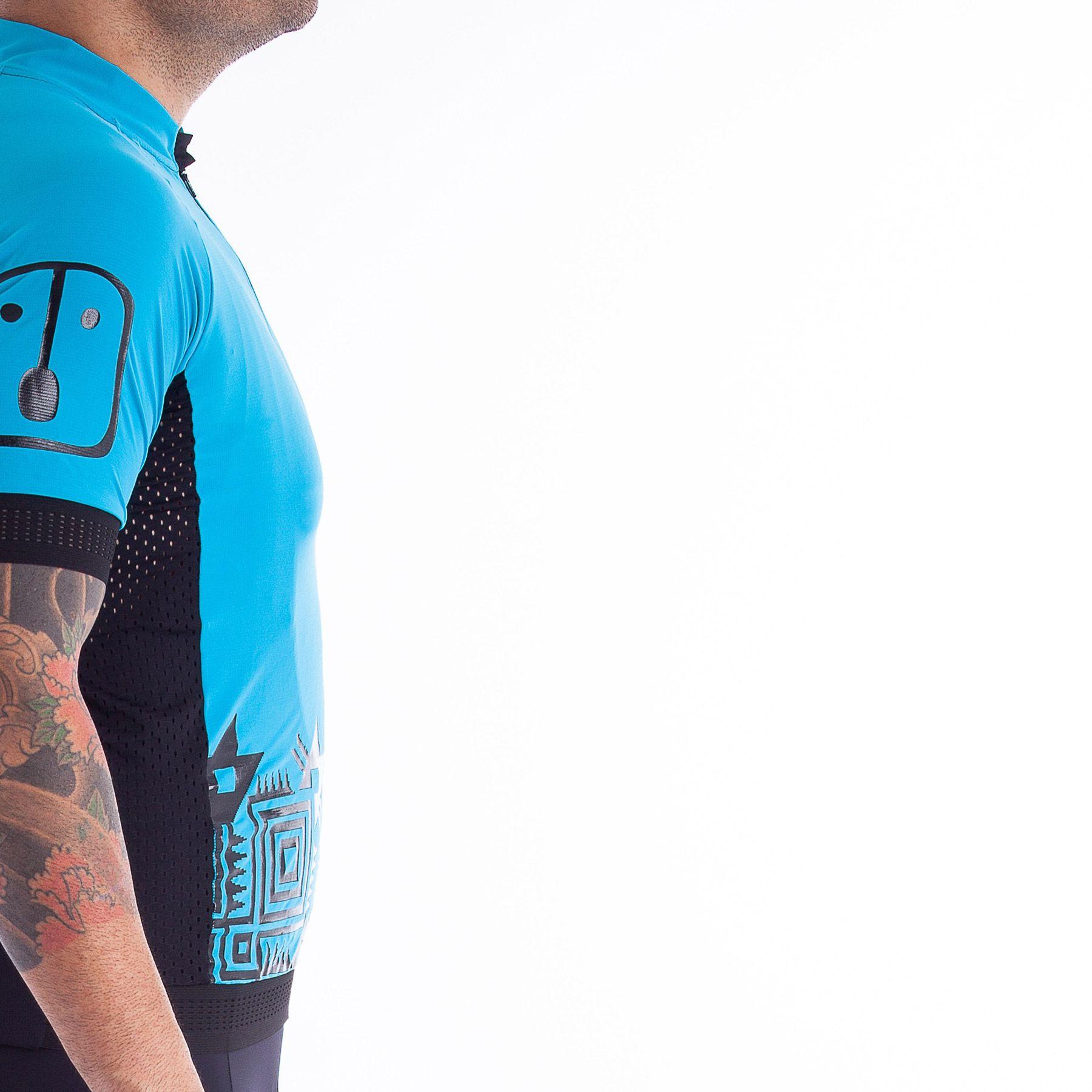 Camisa Ciclismo Racing Warrior Sky - Masculina