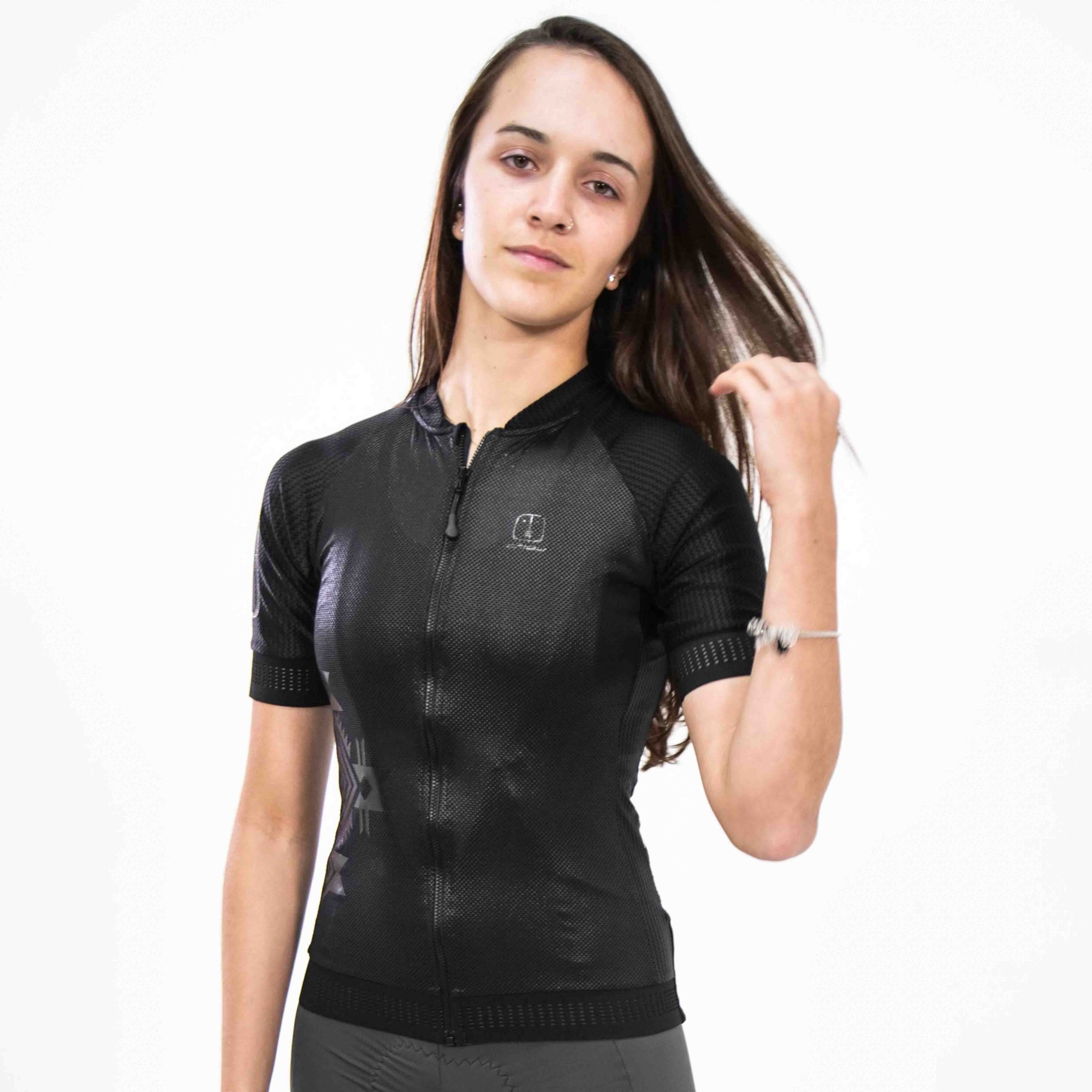 Camisa Ciclismo Warrior Black SKIN - Feminina