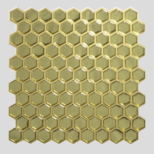 Pastilha Adesiva Colmeia Cromado Ouro (Unitário) 30x30cm