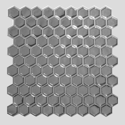 Pastilha Adesiva Colmeia Cromado Prata (Unitário) 30x30cm