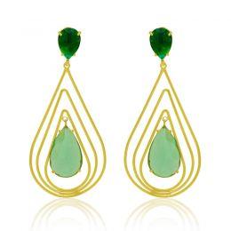 Brinco Gota Cristal Verde