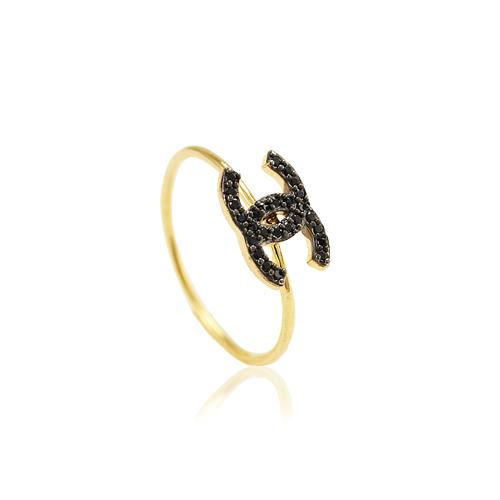 Anel Chanel Cravejado com Zircônia Negra