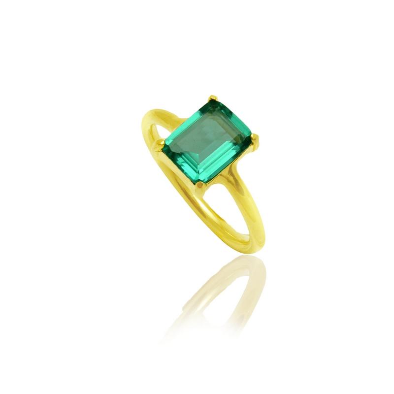 Anel Quadrado Cristal Verde