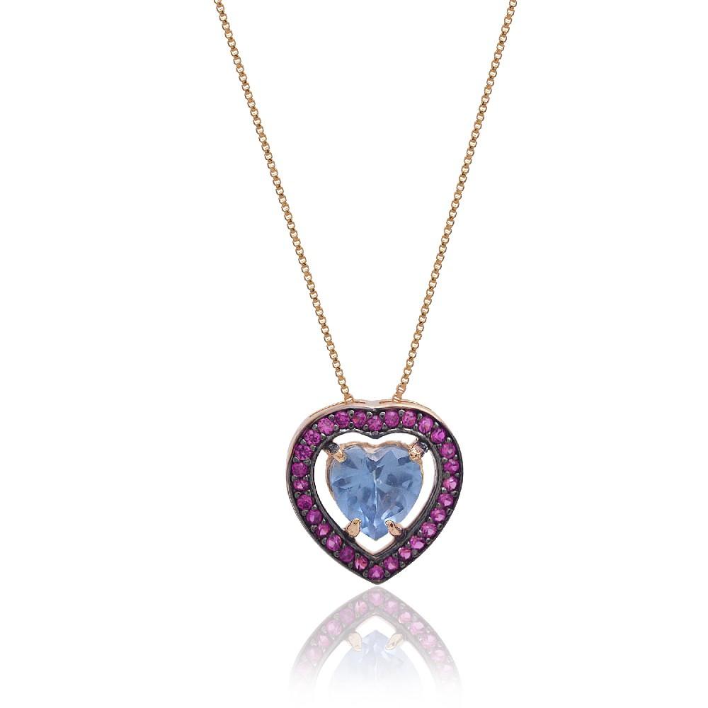 Colar com Coração em Cristal Azul cravejado com Zircônia Rosa