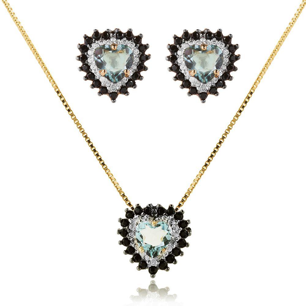 Conjunto Coração Pedra Azul com Zircônia Negra