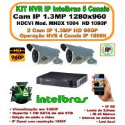 Kit Ip Intelbras Cftv Nvr 5 Canais Full Hd 1080p C/ 2 Câmeras Ip's 1.3mp 960p Hd  Ip66 1280x960