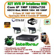 Kit Intelbras Ip Wifi Wireless Cftv Nvr 5 Canais Full Hd 1080p C/ 2 Câmeras Wifi Ip's 1mp 720p Hd  Ip66 1280x720