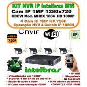 Kit Intelbras Ip Wifi Wireless Cftv Nvr 5 Canais Full Hd 1080p C/ 4 Câmeras Wifi Ip's 1mp 720p Hd  Ip66 1280x720